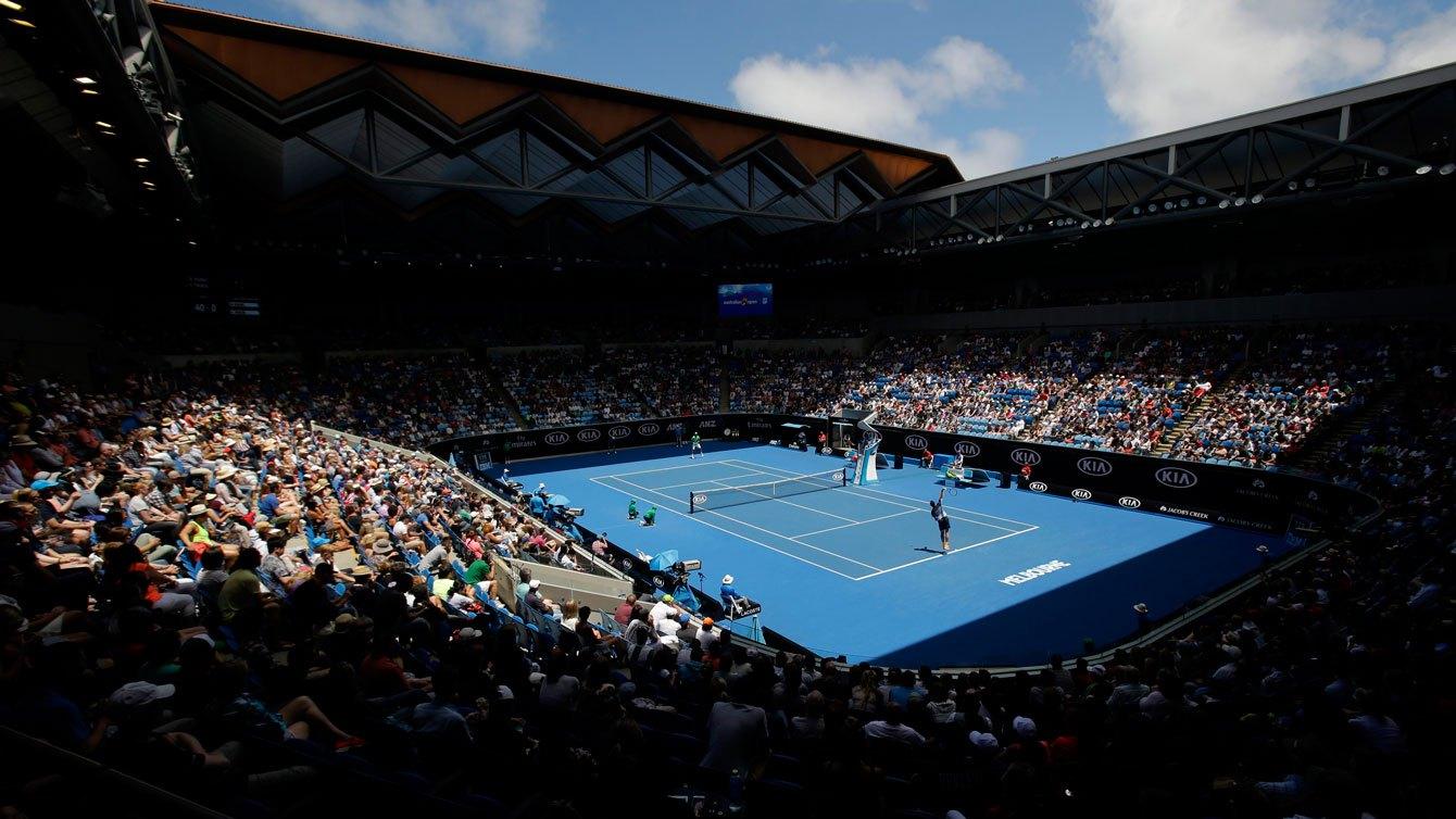 À l'intérieur de l'arène Margaret Court lors du match de Milos Raonic contre Viktor Troicki aux Internationaux d'Australie, le 23 janvier 2016.