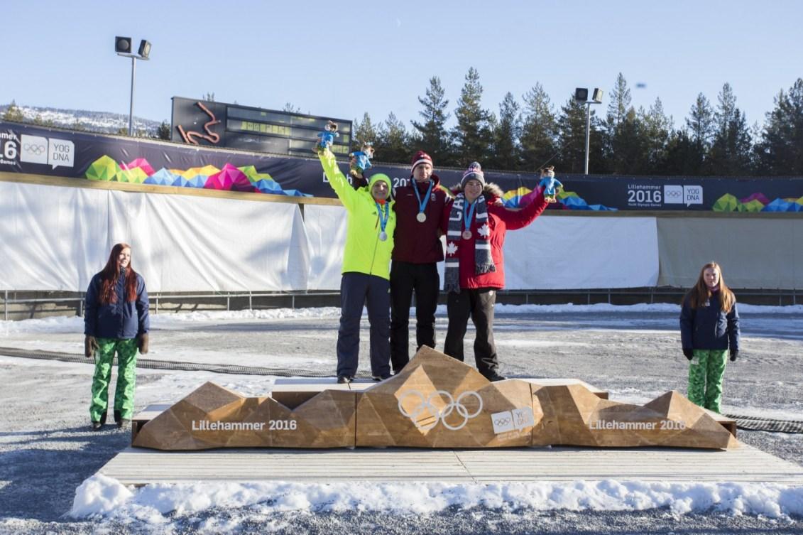 Médaillés de l'épreuve du simple hommes en luge: l'Autrichien Bastian Schulte (or), l'Allemand Paul-Lukas Heider et le Canadien Reid Watts (bronze). Photo: Josef Benoni Ness Tveit / Lillehammer 2016