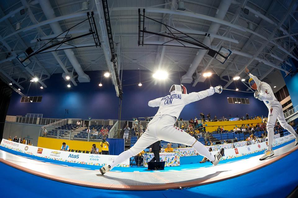Maxime Brinck-Croteau aux Jeux panaméricains de 2015 à Toronto. (Photo : Escrime Canada via facebook)