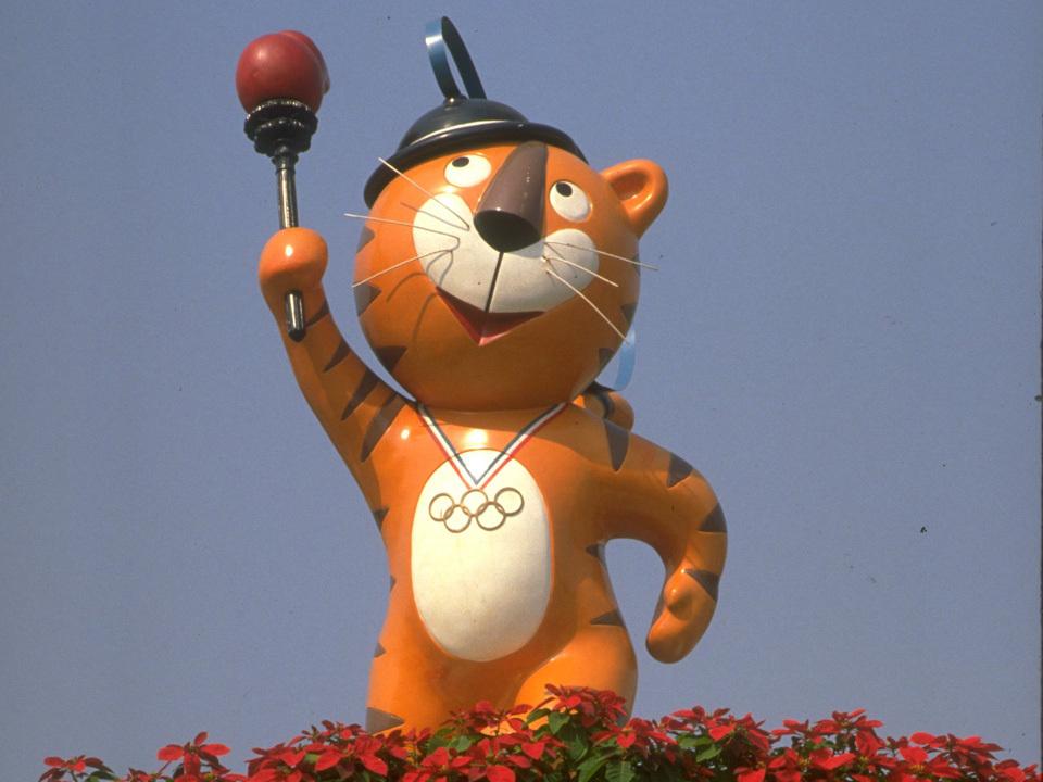 Hodori, mascotte des Jeux de Séoul, en 1988.