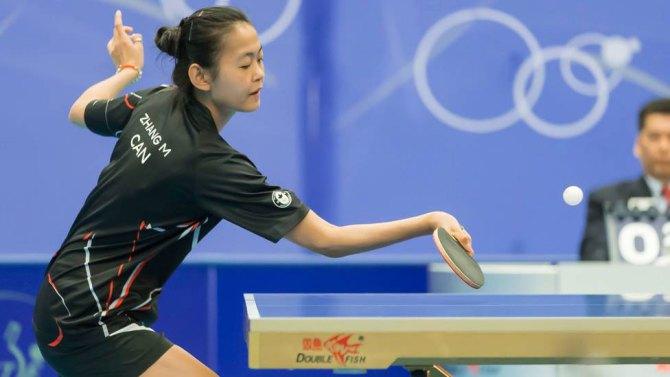 Mo Zhang au Tournoi nord-américain de qualification olympique. (Photo: Table Tennis Canada).