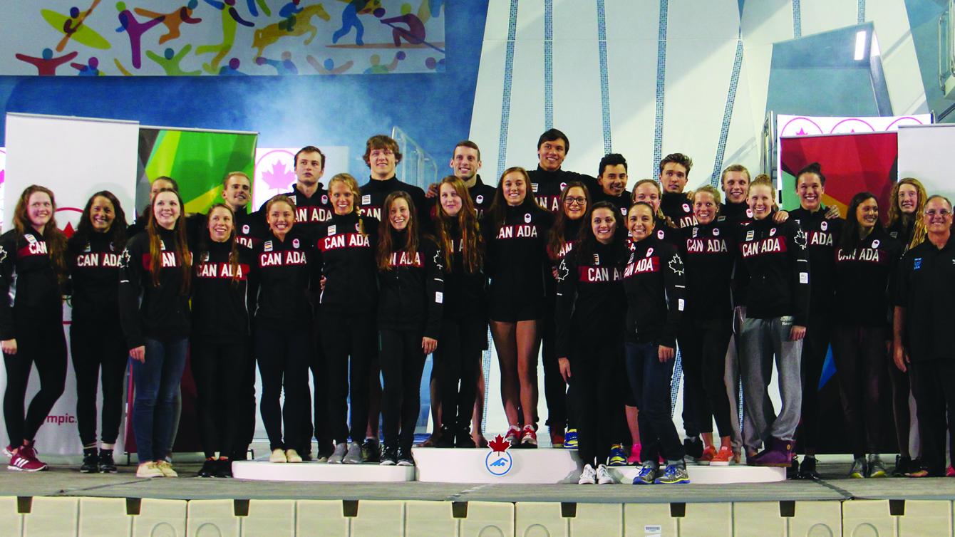 L'équipe de natation du Canada en vue des Jeux olympiques de Rio.