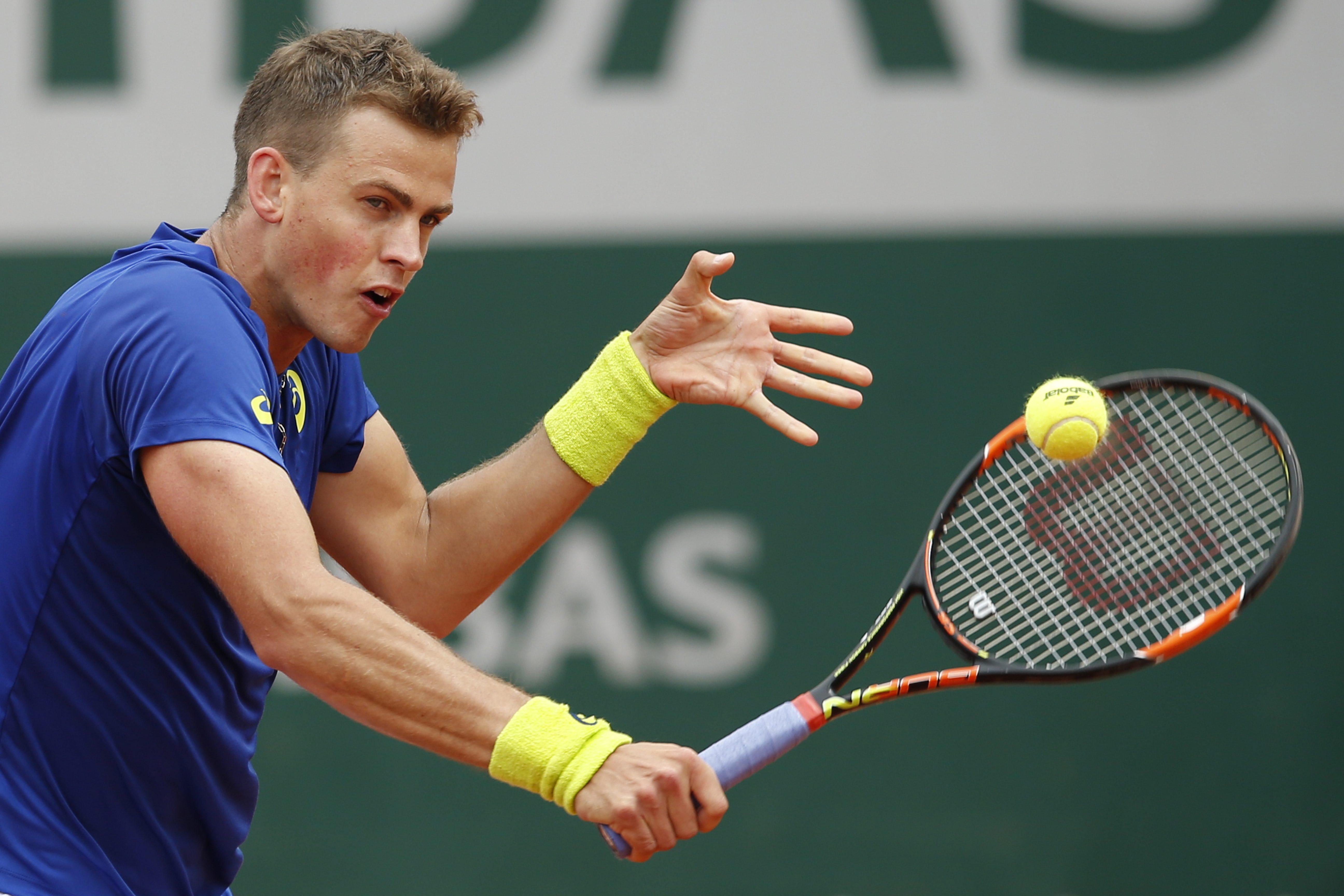 Vasek Pospisil à Roland-Garros le 26 mai 2016. (AP Photo/Alastair Grant)