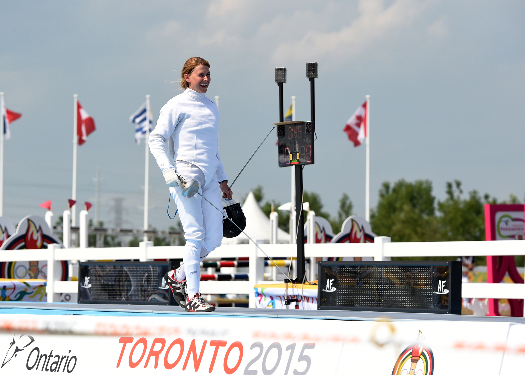 Donna Vakialis competes in the modern pentathlon competition at the Toronto 2015 Pan Am Games. Jay Tse/COC