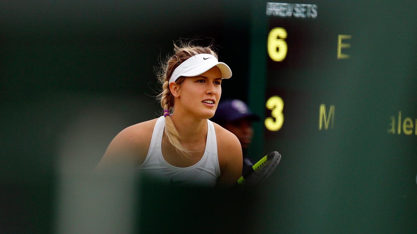 Eugenie Bouchard lors de son match de premier tour l'opposant à Magdalena Rybarikova à Wimbledon, le 28 juin 2016.