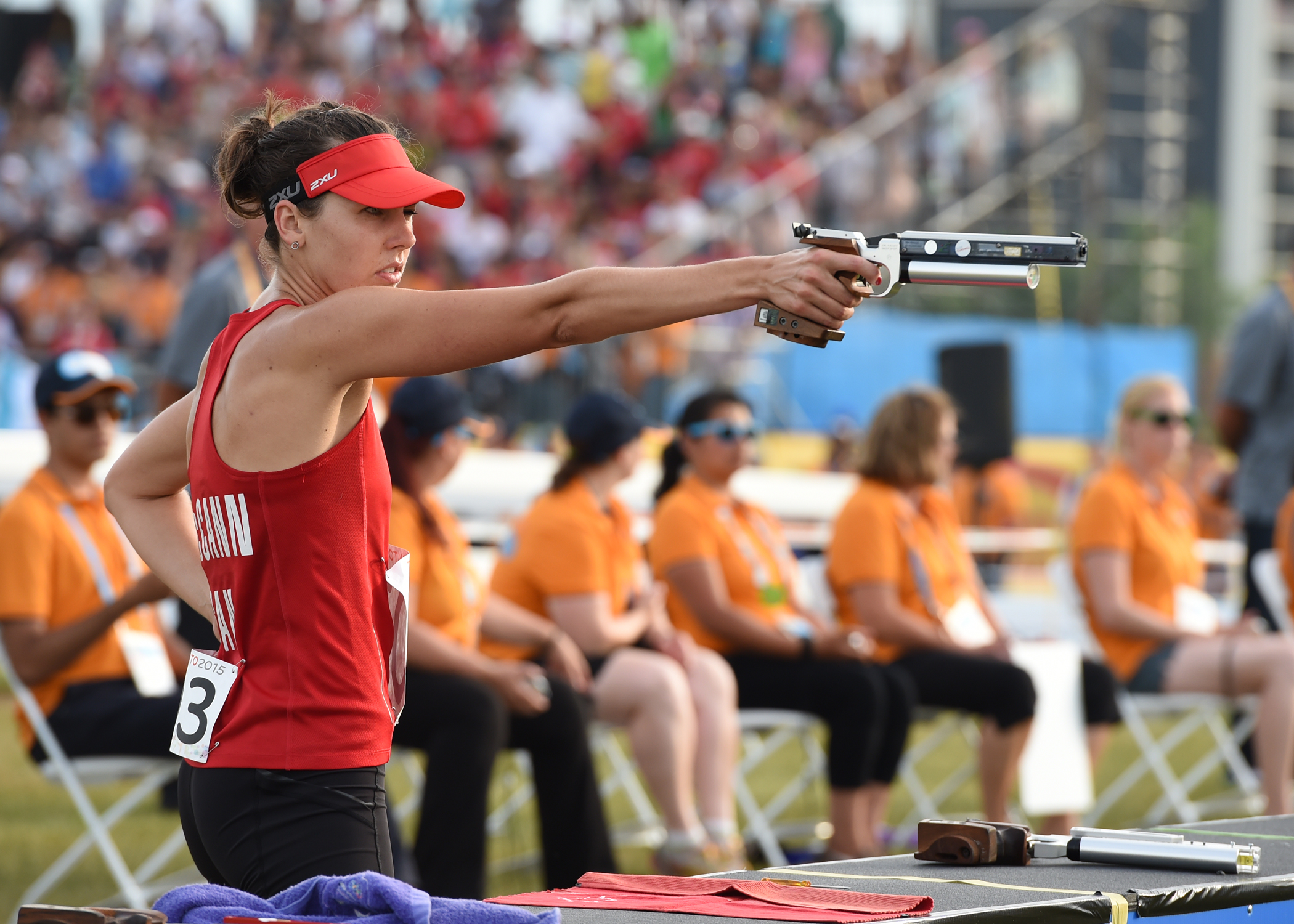 Melanie McCann competes in the Modern Pentathlon competition at the Toronto 2015 Pan Am Games. Jay Tse/COC