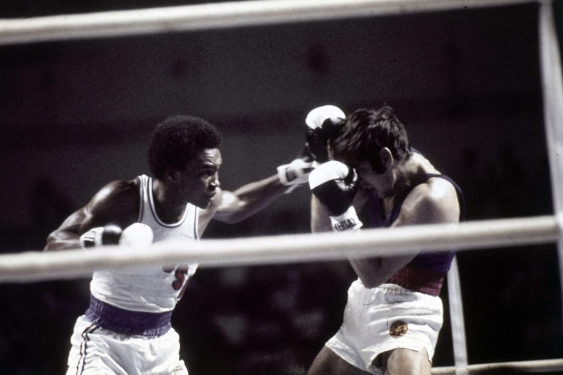 American boxer Ray Leonard, left, defeats East Germany's Ulrich Beyer in the 63.5 category of the Olympic Games boxing tournament in Montreal, Canada, on July 27, 1976. Leonard went on to win the gold medal. (AP Photo)