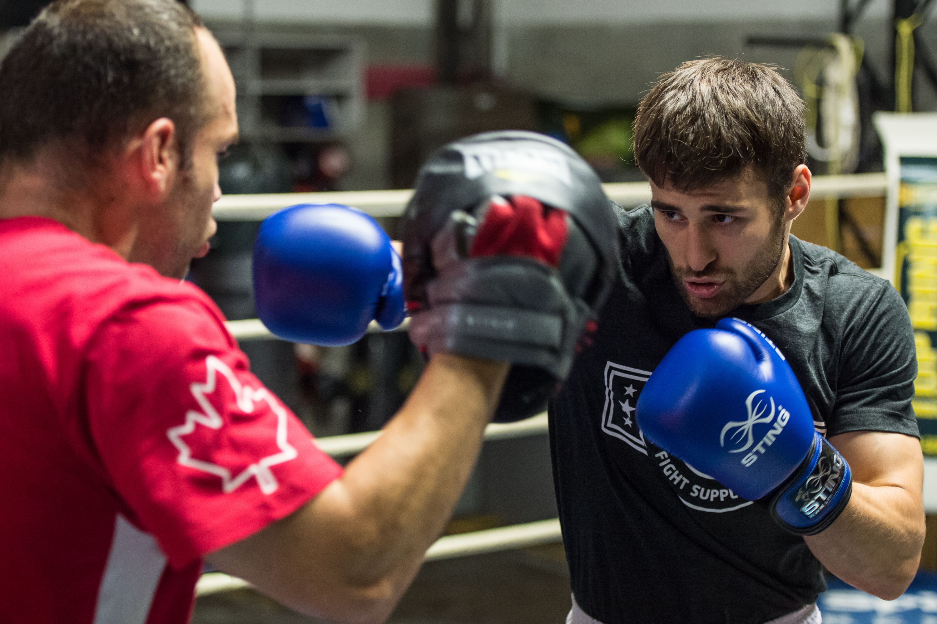 MONTREAL, QC - JULY 14: Arthur Biyarslanov and Ariane Fortin are nominated to the Canadian Olympic Team at Club de Boxe de l'Est on July 14, 2016 in Montreal, Quebec, Canada. (Photo by Minas Panagiotakis/Photography 514-COC)
