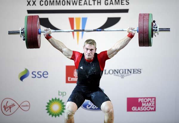 Pascal Plamondon of Canada competes to win the bronze medal Pascal Plamondon aux Jeux du Commonwealth à Glasgow, le 28 juillet 2014. (AFP PHOTO //ANDY BUCHANAN)