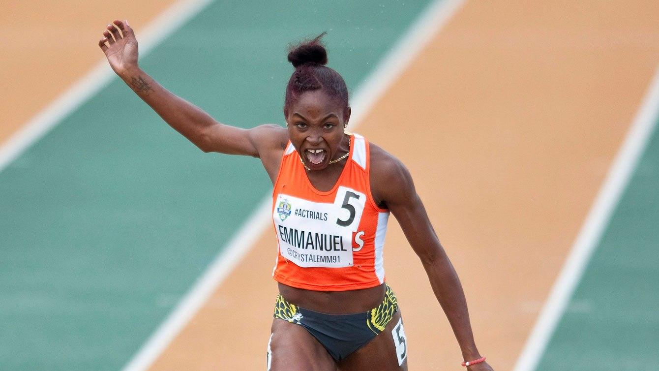 Crystal Emmanuel aux Essais olympique d'Athlétisme Canada, le 10 juillet 2016.