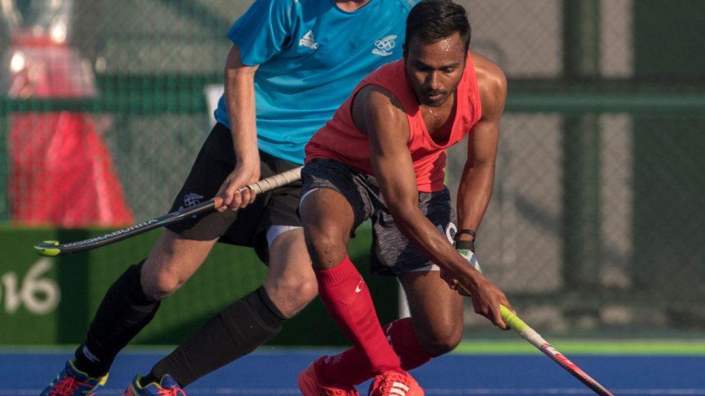 Un joueur canadien en action à Rio 2016.