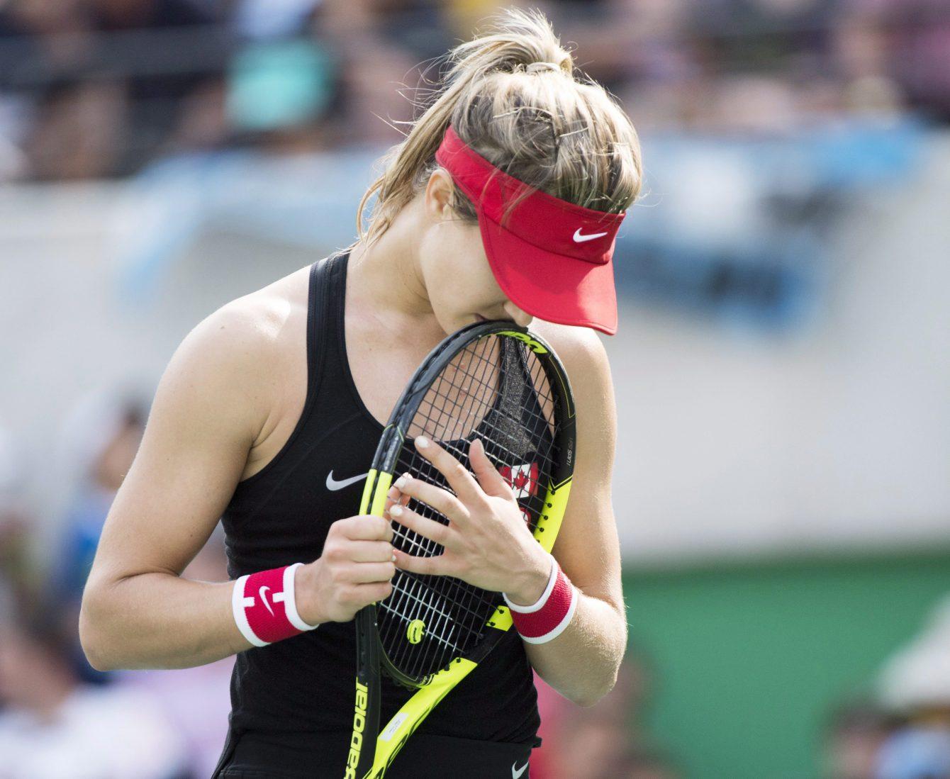 Eugenie Bouchard après sa défaite aux mains de l'Allemande Angelique Kerber au tournoi olympique des Jeux de 2016, à Rio. THE CANADIAN PRESS/Ryan Remiorz