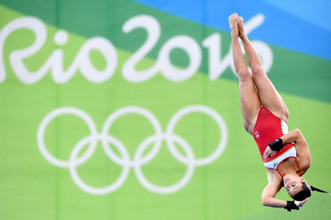 Meaghan Benfeito lors de la finale du 10 m individuel aux Jeux olympiques de Rio, le 18 août 2016. THE CANADIAN PRESS/Sean Kilpatrick