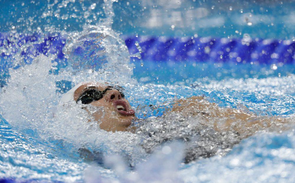 Kylie Masse durant la finale du 100 m dos aux Jeux de Rio, où elle a gagné la médaille de bronze. 8 août 2016. (Photo/Jason Ransom)