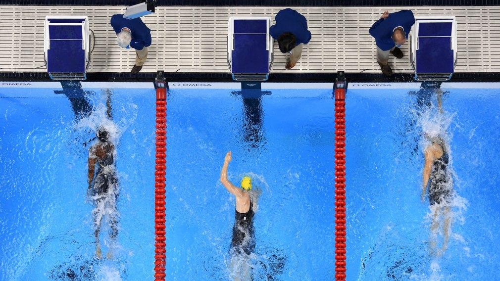La finale du 100 m style libre aux Jeux olympiques de Rio (G-D) : Simone Manuel, Sarah Sjostrom et Penny Oleksiak, le 10 août 2016.