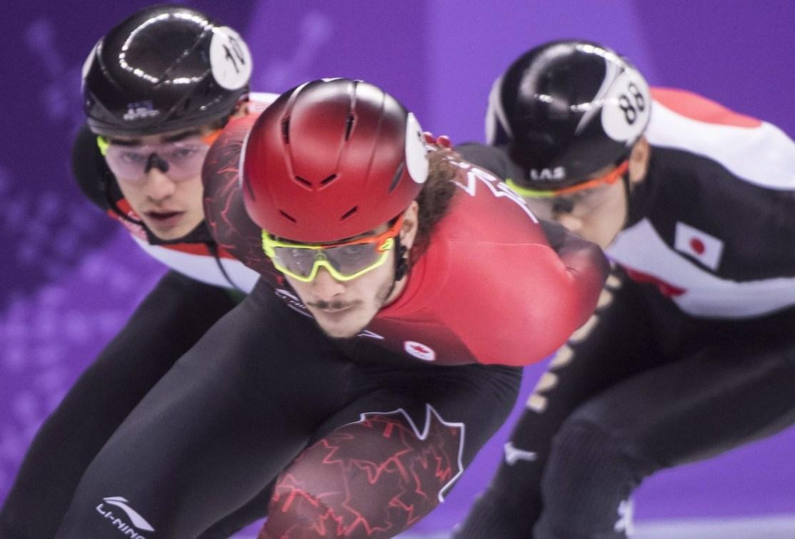 Samuel Girard, d'Équipe Canada, en action pendant les rondes de la compétition masculine de 1500m aux Jeux olympiques d'hiver de 2018, le samedi 10février2018. LA PRESSE CANADIENNE/Paul Chiasson
