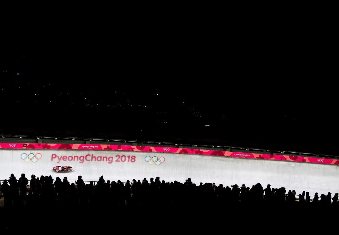 La Canadienne Brooke Apshkrum en action pendant la première descente de l'épreuve féminine de luge pendant les Jeux olympiques d'hiver de 2018 à Pyeongchang, en Corée du Sud, le lundi 12février2018. LA PRESSE CANADIENNE/Nathan Denette