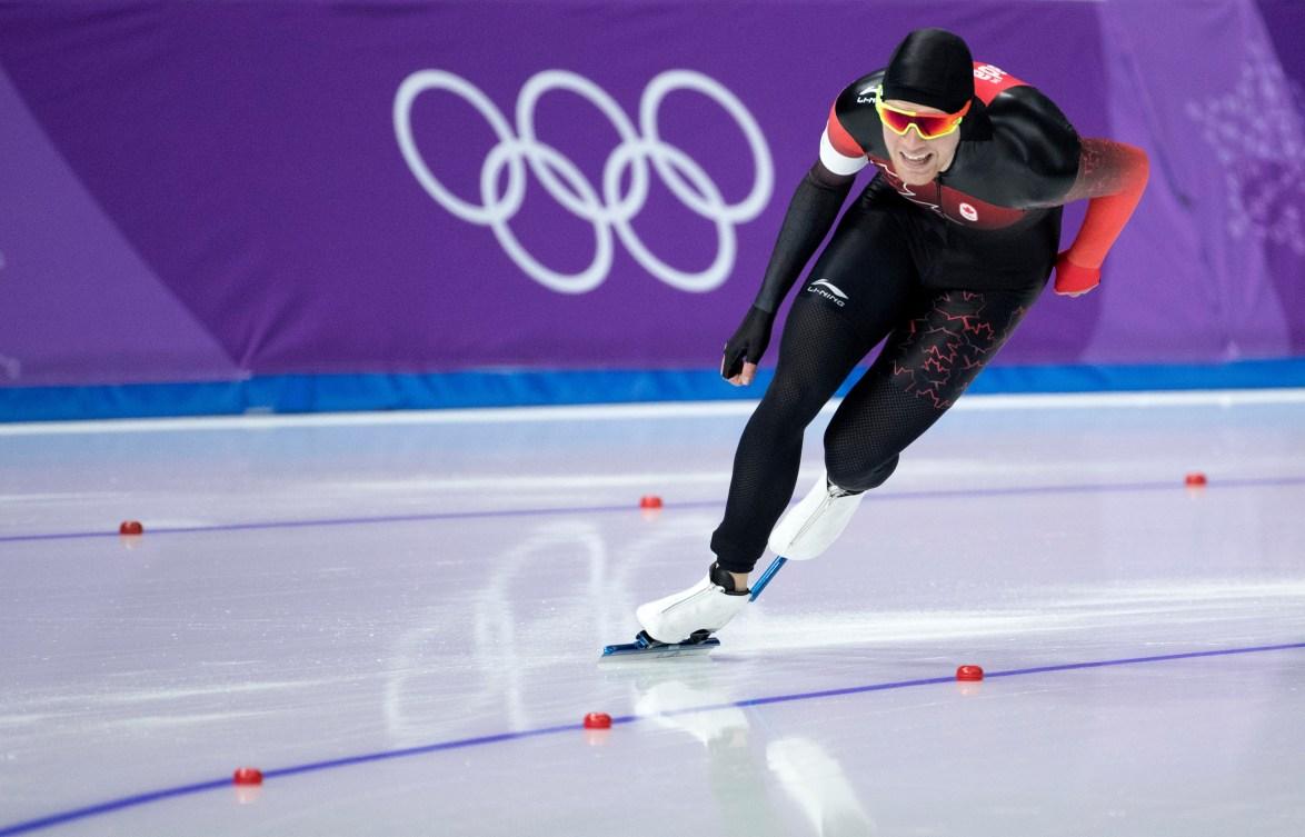 Le Canadien Benjamin Donnelly en action à l'épreuve masculine de 1500m aux Jeux olympiques d'hiver de PyeongChang2018 en Corée, le mardi 13février2018.Photo: COC/Jason Ransom
