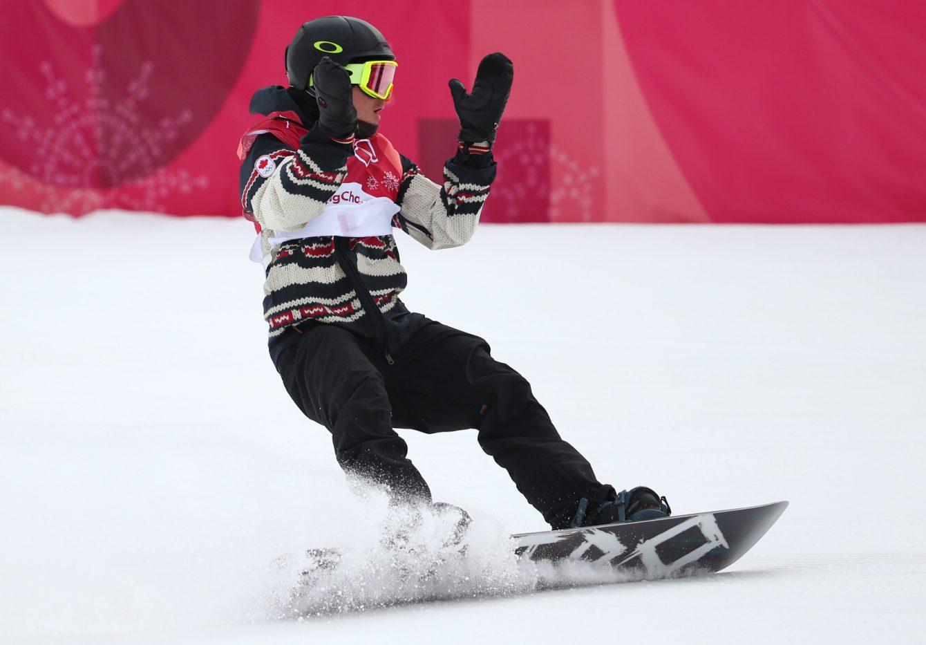 Le planchiste Sébastien Toutant d'Équipe Canada remporte la médaille d'or de l'épreuve big air des Jeux olympiques de PyeongChang, en Corée du Sud, le 24 février 2018. (Photo : Vaughn Ridley/COC)