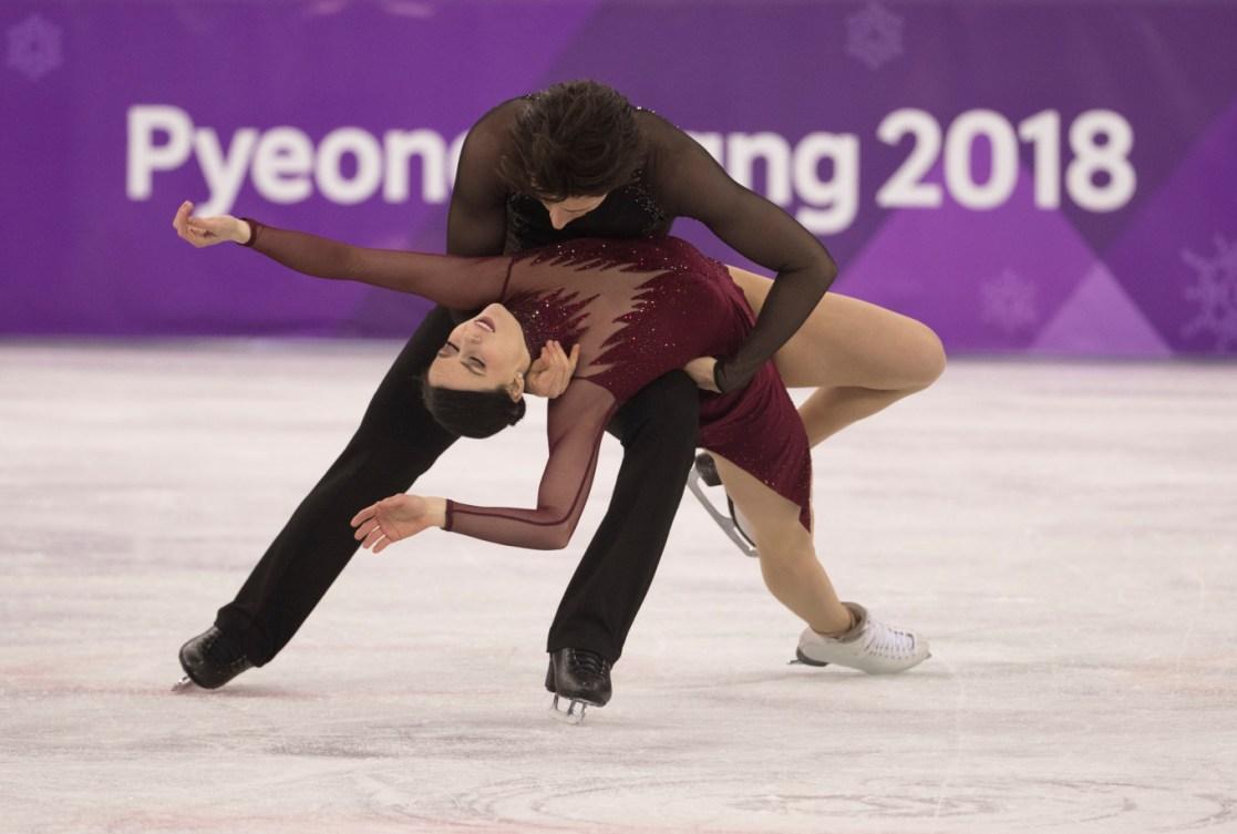 Les Canadiens Scott Moir et Tessa Virtue en action lors du programme libre de danse sur glace et visant la médaille d'or olympique lors des Jeux olympiques d'hiver de PyeongChang 2018 en Corée, le mardi 20 février 2018.THE CANADIAN PRESS/HO – COC – Jason Ransom