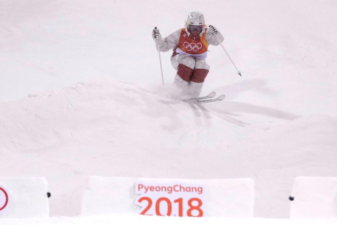 Justine Dufour-Lapointe lors de la super-finale des bosses féminines aux Jeux olympiques de PyeongChang 2018, le 11 février 2018. (Photo : Jason Ransom/COC)