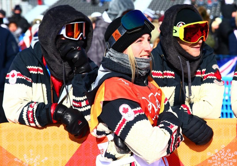 <em>Laurie Blouin, d'Équipe Canada, gagne la médaille d'argent à l'épreuve féminine de snowboard slopestyle pendant les Jeux olympiques d'hiver de PyeongChang2018, en Corée du Sud, le 12février 2018. (Photo: Vaughn Ridley/COC)
