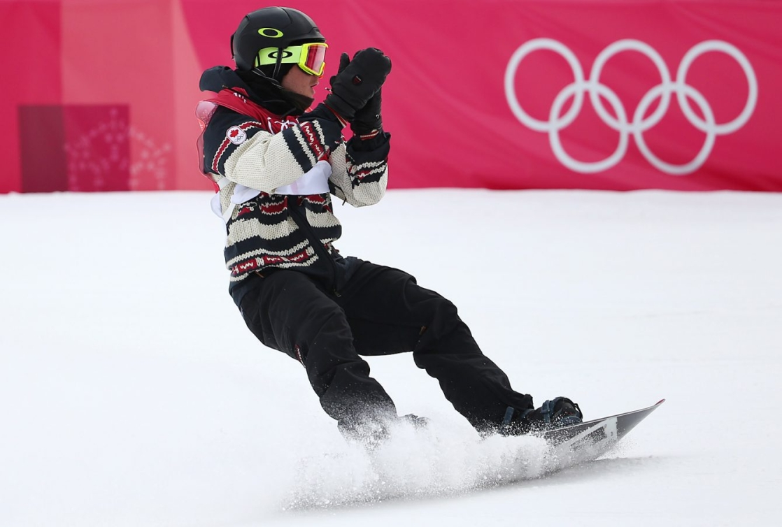 Le Canadien Sébastien Toutant remporte l'or en finale du big air hommes au Centre de saut à ski d'Alpensia lors des Jeux olympiques d'hiver de PyeongChang2018 en Corée du Sud le 24février2018. (Photo: Vaughn Ridley/COC)