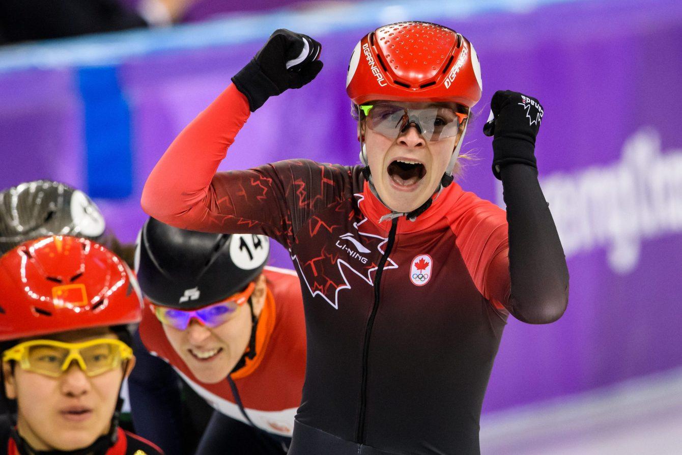 Kim Boutin remporte le bronze sur 1500 m aux Jeux olympiques de PyeongChang, le 17 février 2018. (Photo by Vincent Ethier/COC)