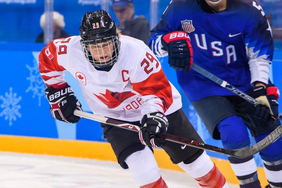 L'attaquante d'Équipe Canada Marie-Philip Poulin (29 ans) patine pendant la finale de hockey sur glace féminin entre le Canada et les États-Unis aux Jeux olympiques d'hiver de PyeongChang 2018, au Centre de hockey de Gangneung, le 22 février 2018 à Pyeongchang-gun, en Corée du Sud (Photo: Vincent Ethier/COC)