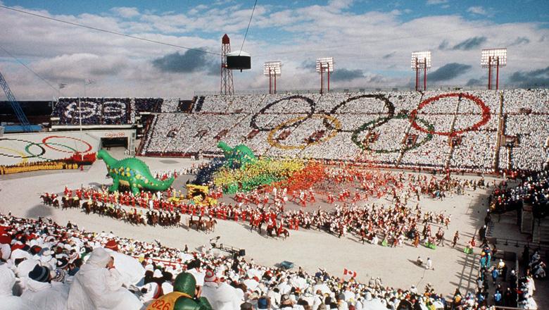 La cérémonie d'ouverture des Jeux de Calgary.
