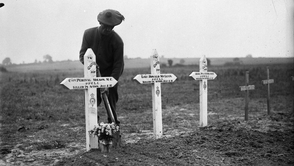Le site d'enterrement de l'olympien Percival Molson, qui a été tué en action près de Vimy pendant la Première Guerre mondiale.