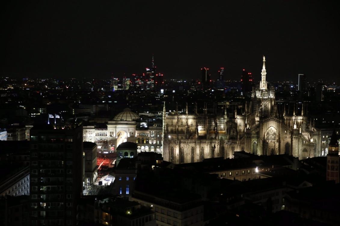 Photo de nuit de Milan en Italie.