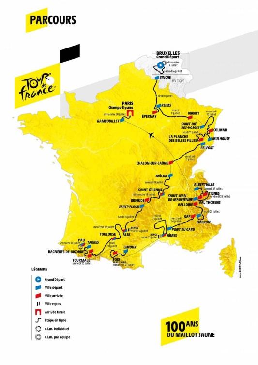 Carte détaillée du Tour de France 2019