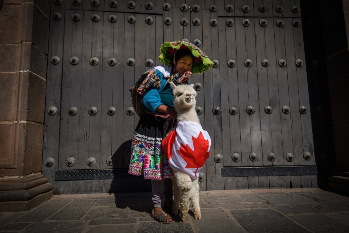 Une Péruvienne pose avec un lama vêtu d'un drapeau canadien
