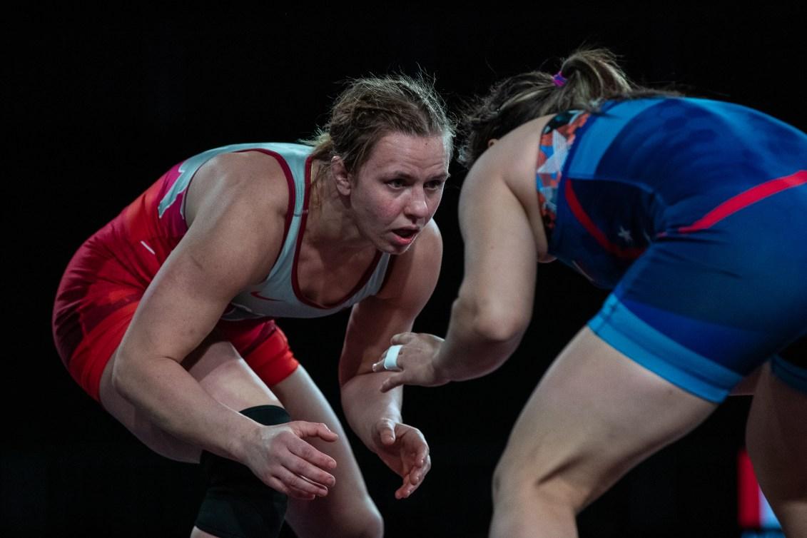 Erica Wiebe lors d'un combat